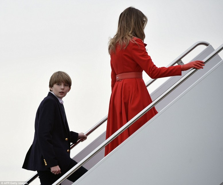 Barron boarded Air Force One behind his mother