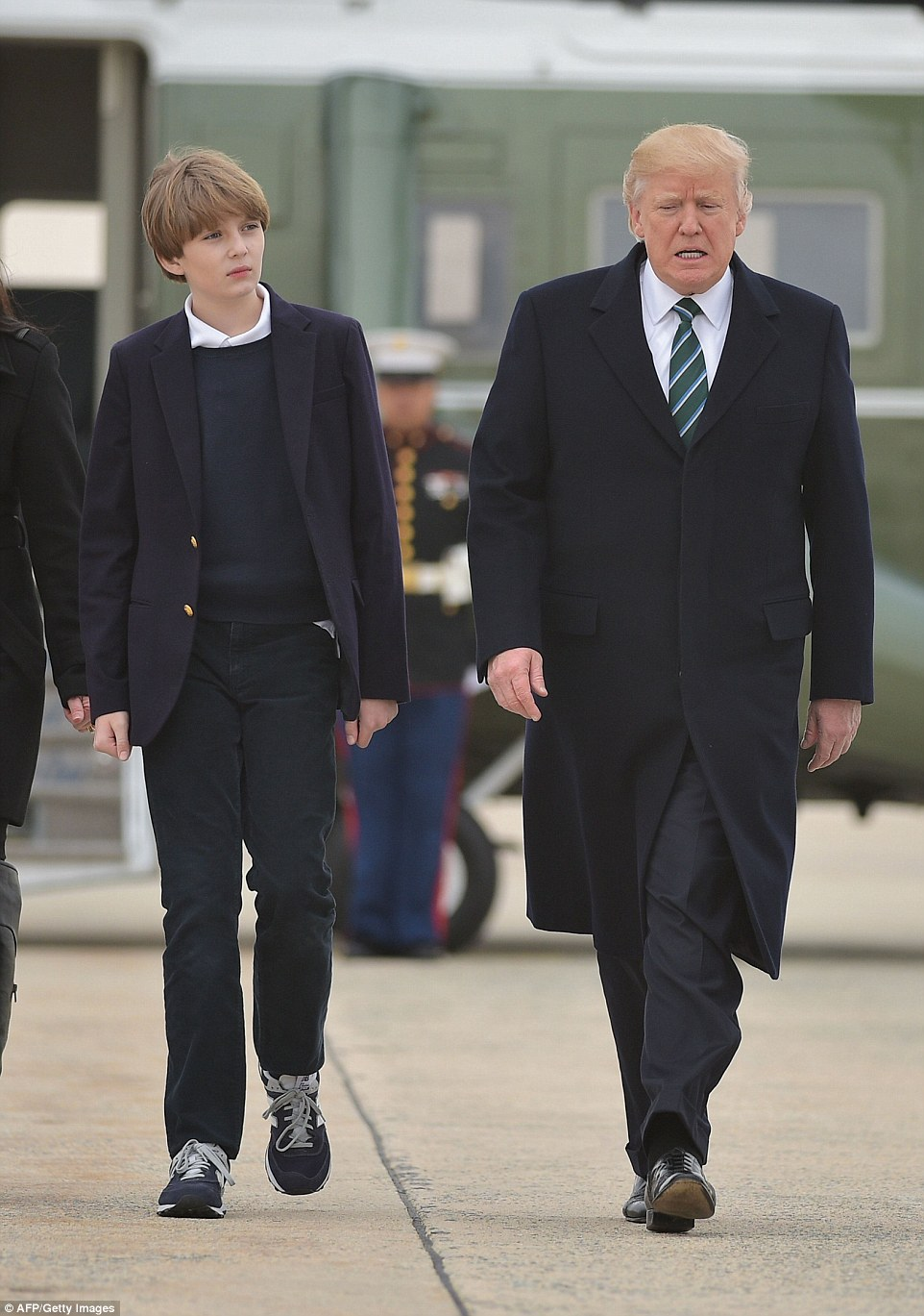 Barron is already almost as tall as his father, despite only being ten years old