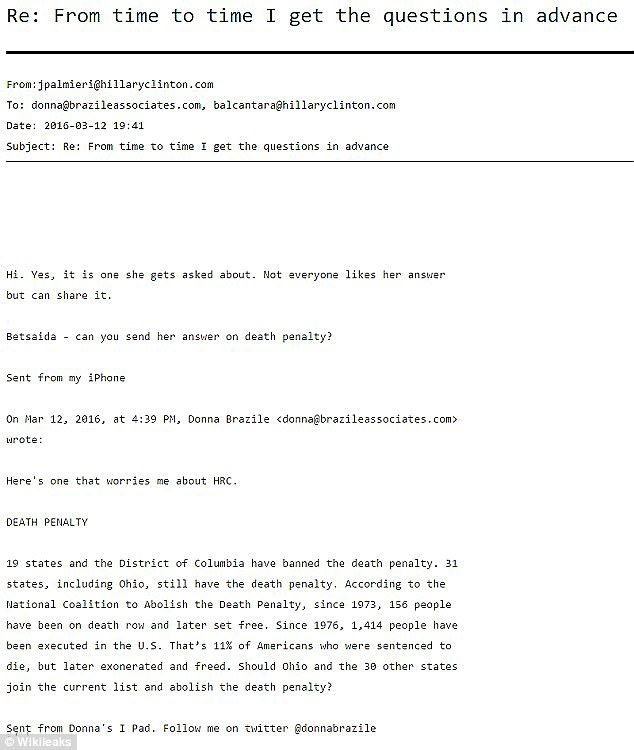 On March 12, 2016, one day before the debate, Brazile sent an email (above) about the death penalty to Clinton staffer Jennifer Palmieri with the subject: 'From time to time I get the questions in advance,' according to emails obtained by WikiLeaks