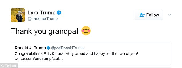 Celebration: Lara responded to her father-in-law's tweet by writing: 'Thank you grandpa!'