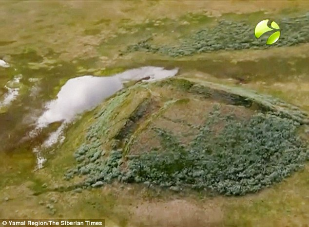 The methane gas bubbles are contained within pingos, dome-shaped mounds consisting of a layer of soil over a large core of ice found in permafrost areas