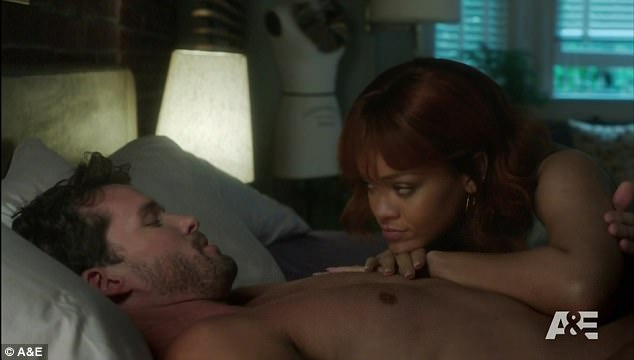 'This is so weird, oh my God': Rihanna said she could not bear to watch her Bates Motel sex scene on Monday. Here she is seen with actor Austin Nichols