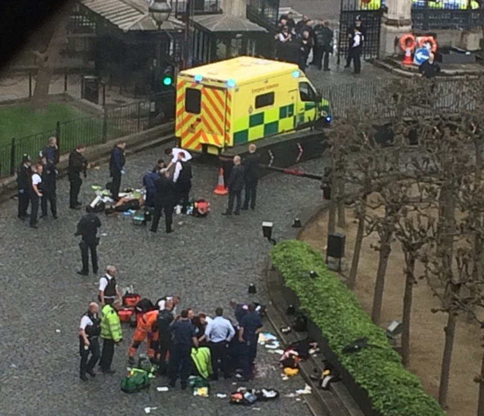 A police officer was stabbed by the knifeman before he was shot by other officers. Paramedics are now treating the injured