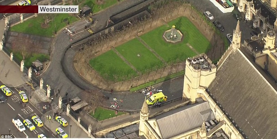 An aerial view of the scene shows the scene where victims inside Parliament were being treated