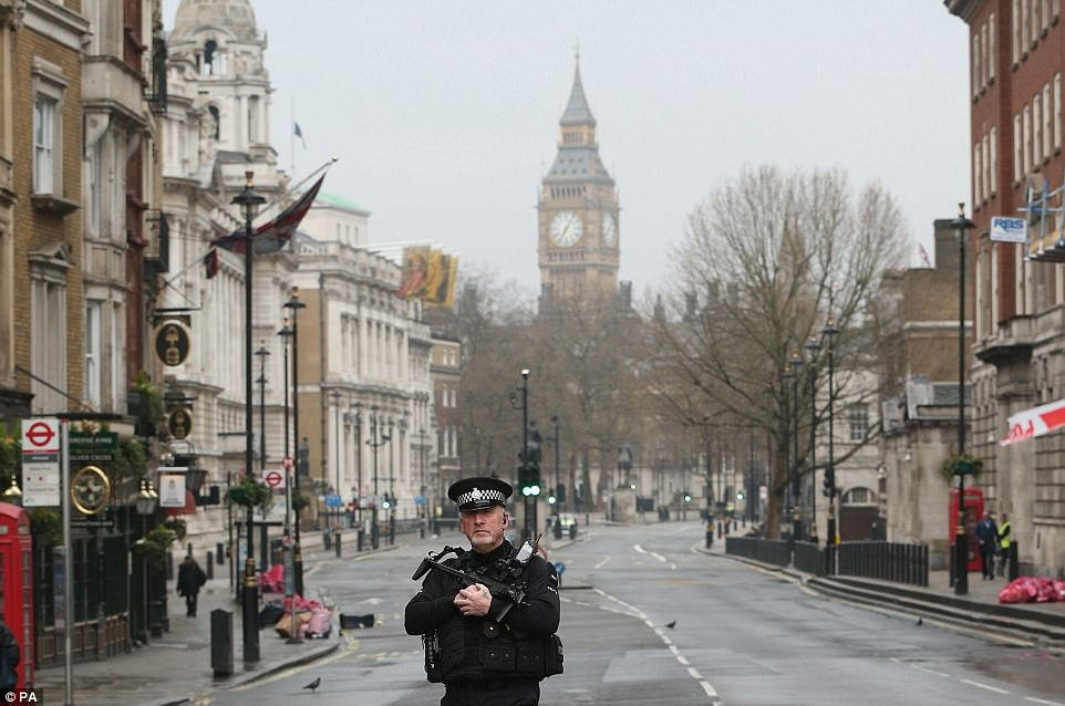 The scene in Whitehall this morning, where a number of streets are closed off while investigators examine the scene