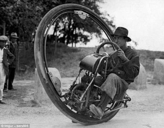 A one-wheeled bike, or monowheel, designed in 1931 by a Swiss engineer called Mr Gerdes