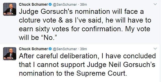 Schumer staked his claim to a 'no' vote on Thursday, but he's a long way from blocking Gorsuch