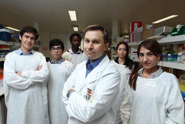 Professor David Sinclair (front centre) and his research team. During trials on mice, the group found that their anti-ageing pill directly repaired DNA damage caused by radiation exposure or ageing. Human trials will begin within six months