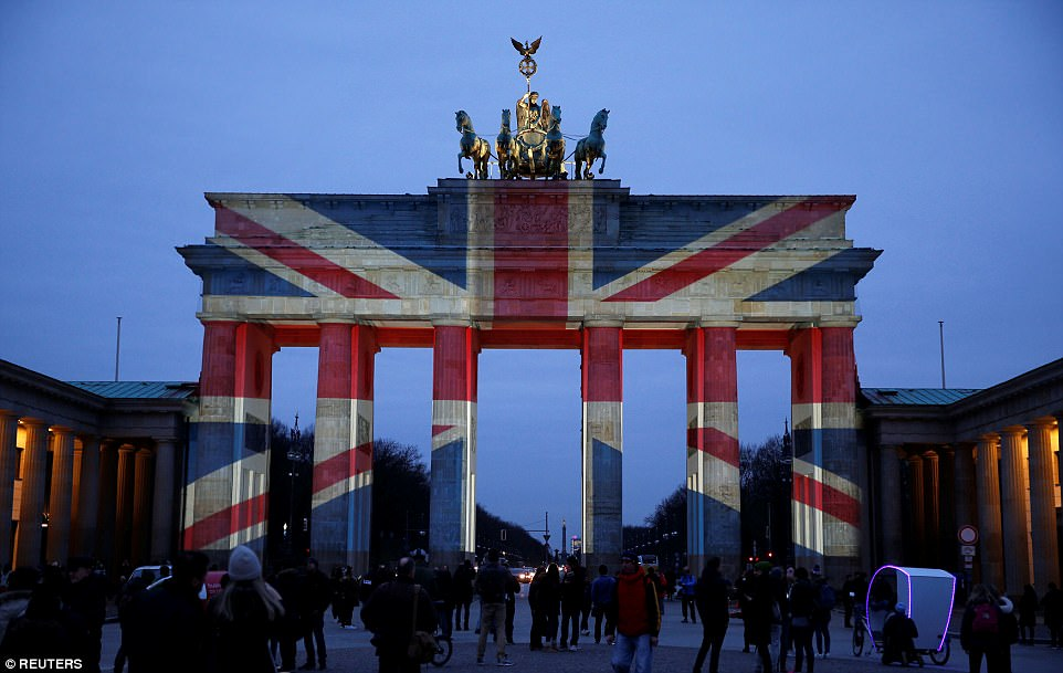 Berlin: The Brandenburg Gate is illuminated with the colours of the British flag to show solidarity with the victims of the recent attack in London