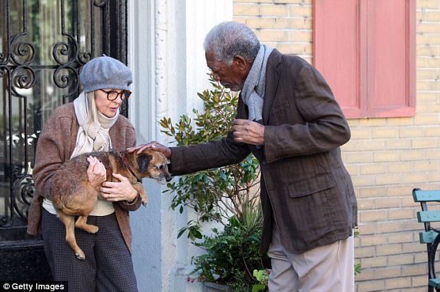 Though this dog kills rats by night, they have starred in the movie 'Five Flights Up' alongside Diane Keaton and Morgan Freeman (pictured)