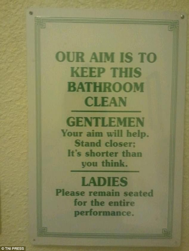 This sign encourages cleanliness in the bathroom but approaches it in a light hearted way