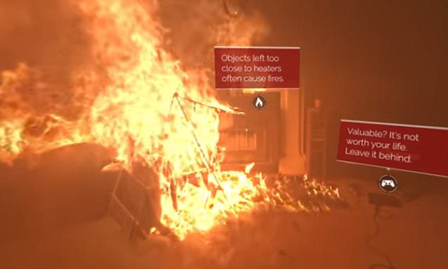 Virtual reality simulator shows effect of house fire