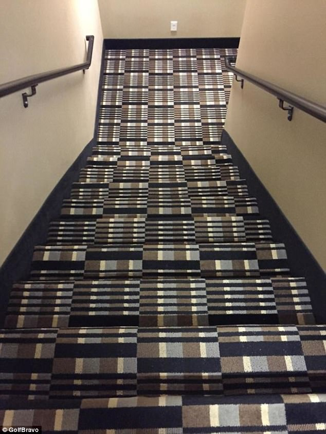 Would you want to walk down these stairs? The carpet design makes it difficult to see when one step ends and another begins