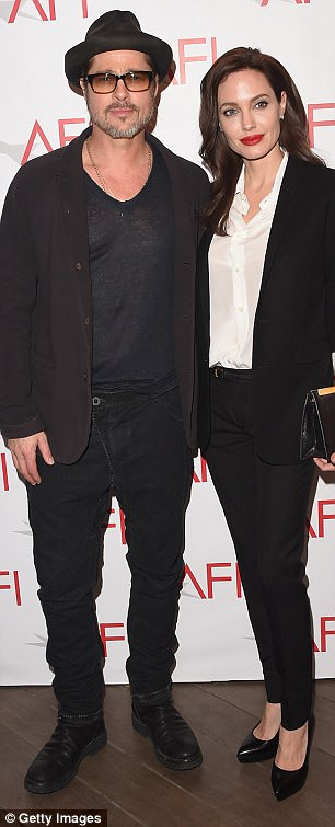 He is pictured right with Angelina Jolie in January 2015