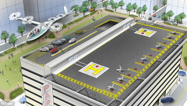 A model from Uber shows a 'vertiport' and an in-transit e-VTOL or 'electric vertical take off and landing.' The form of transport could be coming to American cities such as New York and San Francisco within a decade