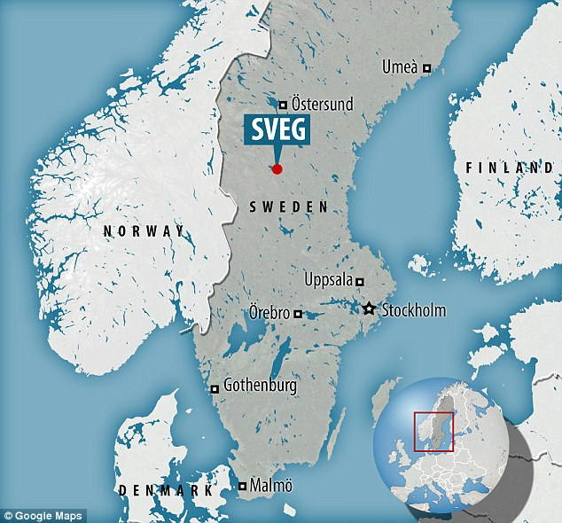 The accident occurred close to the town of Sveg, 260 miles northwest of the capital, Stockholm, in the northern region of Harjedalen