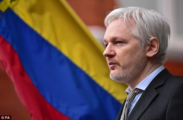 WikiLeaks founder Julian Assange (pictured) dodged an eviction order in Ecuador's Sunday election, after the right-wing candidate who had vowed to kick him out of the country's London embassy was set to narrowly lose a presidential election