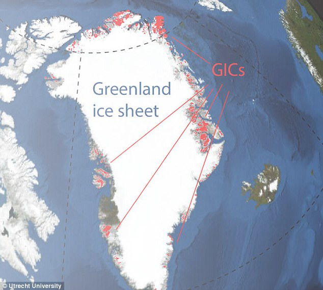 The findings reveal exactly why the most vulnerable parts of Greenland ice (indicated by red lines) are melting so quickly – the deep snow layer that normally captures coastal melt water was filled to capacity in 199