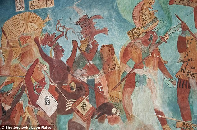 A team of researchers have found a link between temperature increase and growing conflicts among the Maya in thelowlands of the Yucatán Peninsula. Pictured are reconstructions of frescoes found in an ancient Bonampakarchaeological site in the Mexican state of Chiapas