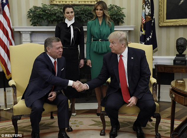 President Donald Trump said today that the chemical weapons attack in Syria is a 'terrible affront to humanity' during an Oval Office photo op with King Abdullah II of Jordan and his wife, Queen Rania, and the First Lady of the United States, Melania