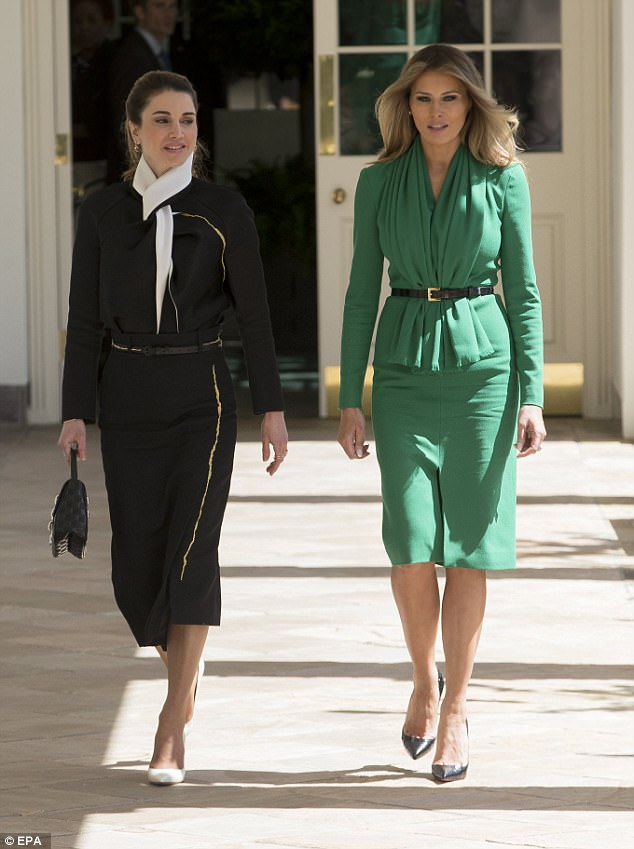 Style stars: While Queen Rania opted to wear black and white, Melania donned emerald green