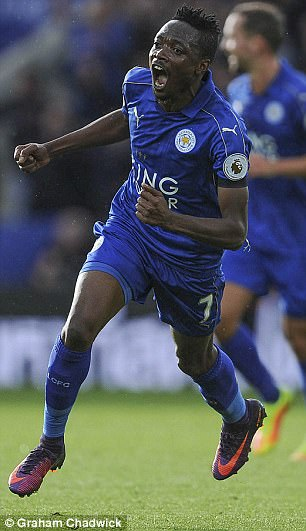 Ahmed Musa celebrates a goal against Crystal Palace