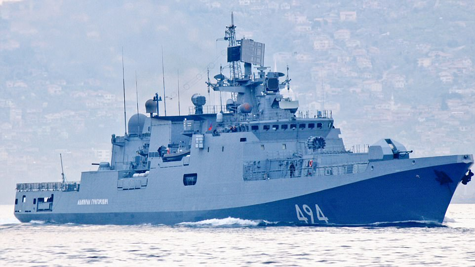 Russian warship the Admiral Grigorovich (pictured on recent deployment) - armed with cruise missiles and a self-defense system - was sent from the Black Sea to Syria today following the airstrike on al-Shayrat military airfield
