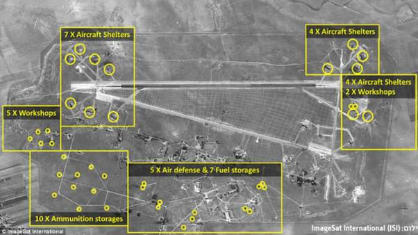 After the strike: These satellite images show the damage to al-Shayrat military airfield which was hit by US cruise missiles on Thursday night