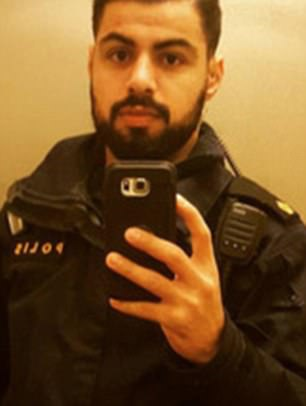 Police officers responding to the Stockholm terror atrocity were pelted with stones last night. Policeman Abdallah Ahmed (pictured) wrote about the incident on Facebook