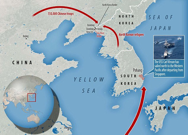 TheChinese army has deployed 150,000 troops  to the Yalu River Bridge at the North Korean border in anticipation of a wave of refugees from North Korea if war breaks out. Meanwhile, the US Navy has moved the USS Carl Vinson aircraft carrier strike group from Singapore to the North Korean peninsula