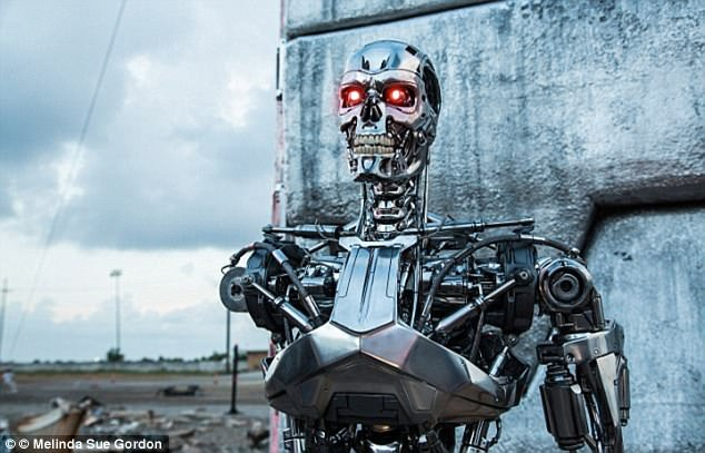 Scientists are concerned that computers are already overtaking us in their abilities, raising the prospect that we could lose control of them altogether. Pictured is the Terminator film, in which robots take over - a prospect that could soon become a reality