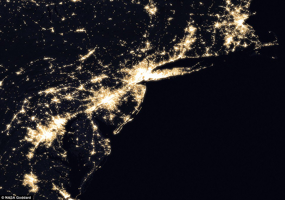 The Mid-Atlantic and Northeastern US at night, one of the brightest regions in the world. New York (centre) shines a bright white thanks to light pollution from city lights, sky scrapers and billboards