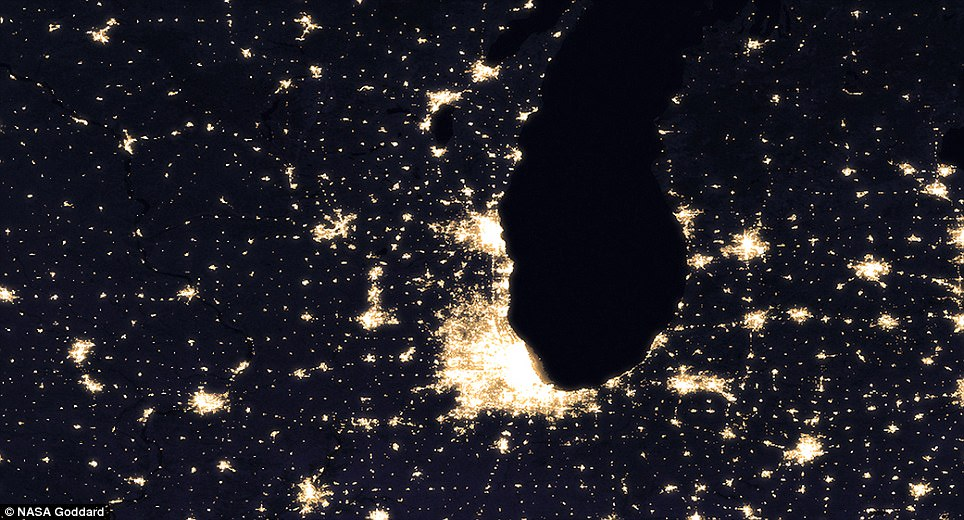 The most readily noticeable difference in these nighttime views of Chicago In 2012 (centre) and 2016 is lighting along a recently expanded section of Interstate 90.