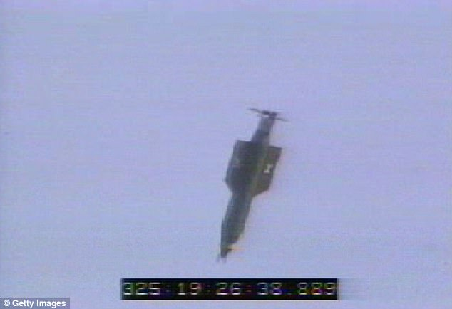 The MOAB was pushed out the back door of a giant cargo plane on Thursday, flying to its target with GPS guidance (2003 test shown)