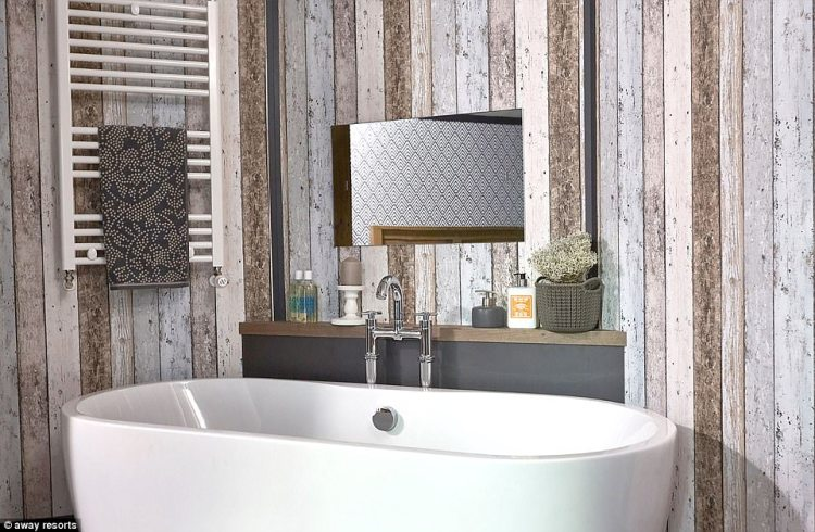 The stand alone bath with a television behind the mirror