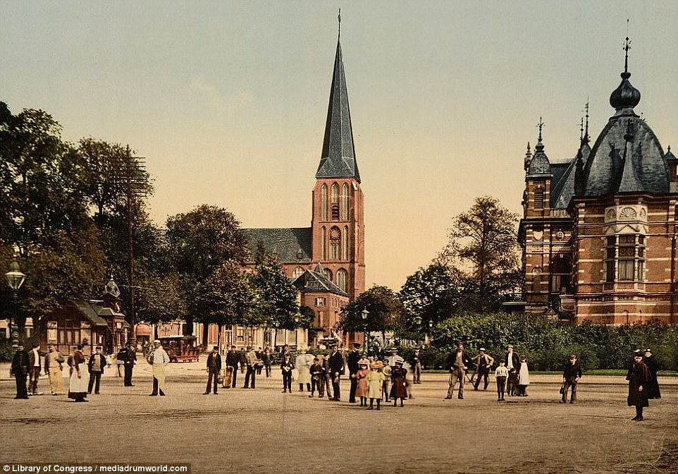 Photochrom reproductions became popular due to the craze with sending postcards. Pictured is Velper Square in Arnhem