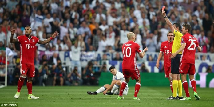 With the tie looking set for extra time Arturo Vidal made his side's task a little harder when he saw red for a second booking