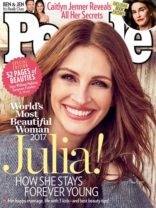 Beautiful!Julia Roberts has another accolade to add to her many, as PEOPLE Magazine name the Oscar winner their World's Most Beautiful cover star for a record fifth time