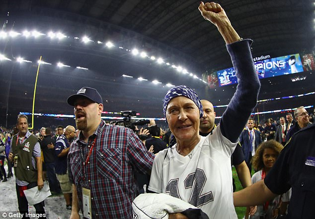 Galynn Brady is seen celebrating after her son, Tom, won the Super Bowl with the Patriots this year