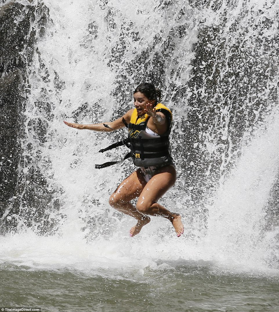I did it! The look on the star's face was priceless as she completed the terrifying waterfall jump