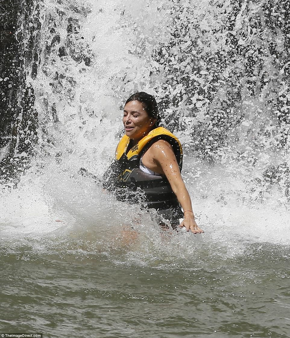 What a feeling! The star looked extremely relieved as she landed safely in the cool waters below