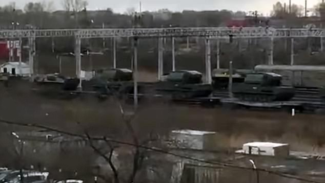 Reinforcements:Vladimir Putin is sending troops and equipment to Russia's border with North Korea over fears the US is preparing to attack Kim Jong-un. Footage shows a train carrying Russian tanks to the border in the country's far south east