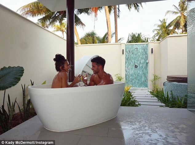 Romantic: The 21-year-old is currently enjoying a romantic getaway on the island with boyfriend Scott Thomas