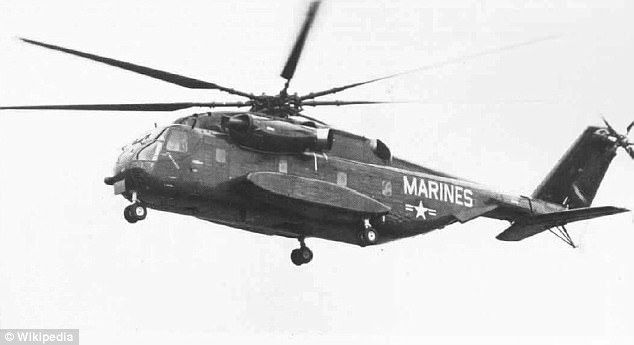 The CH-53 heavy cargo line has been in service for decades. Shown is the first flight of the YCH-53E on MArch 1, 1974