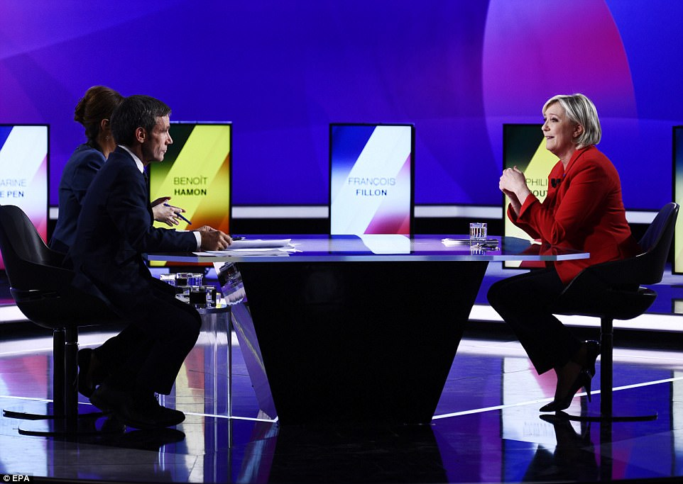 The fatal shooting took place as French presidential candidates, including National Front party leader Marine Le Pen (pictured), took part in a debate nearby