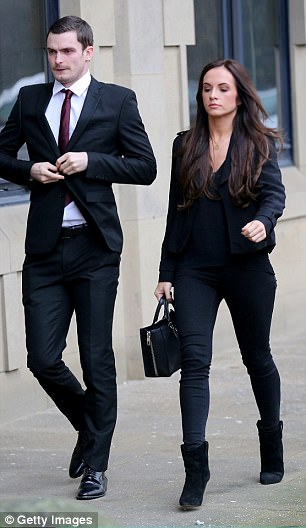 Pictured, Adam Johnson arriving at court with his girlfriend Stacey Flounders
