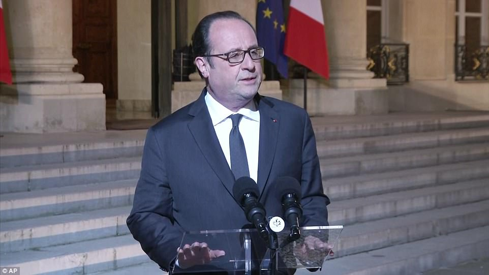French President Francois Hollande (pictured) said the attack was 'terrorist related' and scheduled an emergency meeting following the shootings