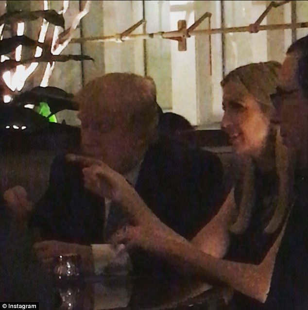 The President dined on Saturday night with his wife Melania, as well as his daughter Ivanka and the Treasury Secretary Steven Munchin (far right) at BLT Prime