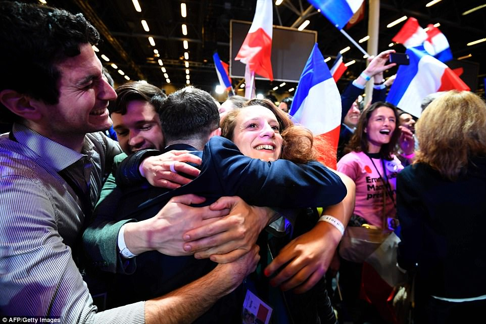 Many people were seen hugging after initial results showed Macron winning 23.9 percent of the vote, beating France's two main parties
