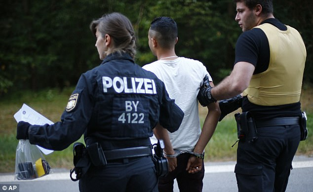 German police were seeking more than 174,000 criminal migrant suspects in 2016, data shows, while crime motivated by Islamism also rose by 13.7 per cent (file image shows police officers arresting a Syrian man accused of smuggling migrants from Austria to Germany)
